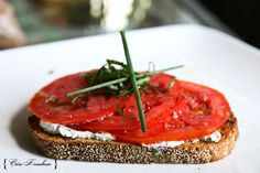 Open Faced Tomato & Herbed Goat Cheese Sandwich