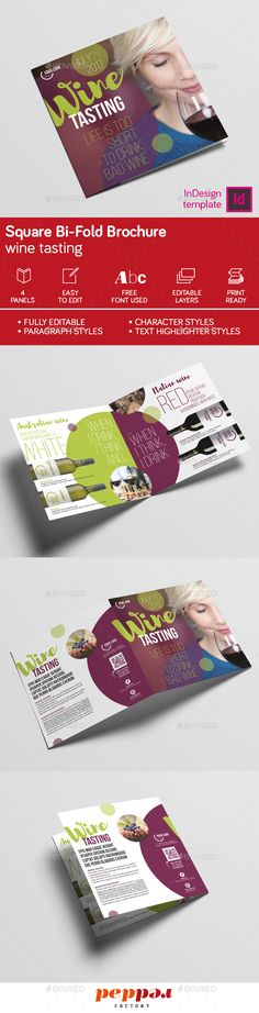 Wine Square Bi-Fold Brochure Template InDesign INDD. Download here: http://graphicriver.net/item/wine-square-bifold-brochure/16098044?ref=ksioks