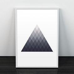 Geometric art, Triangles modern art, Wall poster, Home decor art, Contemporary prints, Monochrome poster, Scandinavian print, Modern decor par ShopTempsModernes sur Etsy https://www.etsy.com/fr/listing/222701285/geometric-art-triangles-modern-art-wall