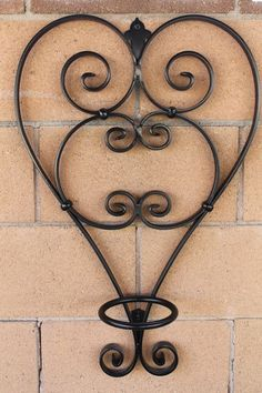 Deluxe Heart Flower pot holder by Scrollworksiron on Etsy