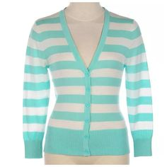 "Mint Green Stripe Knit Cardigan Sweater Medium New Aqua Stripe Cardigan Sweater  Size Medium  Fantastic year round sweater.  Lightweight, 3/4 sleeves.  Perfect to throw over your shoulders or as an outfit.  Beautiful aqua color.  100% cotton.    Bust 34""-38""  Shoulder 18""  length of garment 21.5"" Teaspoon Sweaters Cardigans"