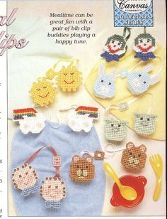 Plastic Canvas - Patterns for Children & Babies - Gift Patterns - Lyrical Bib Clips Annie's Crochet, Crochet Crafts, Plastic Canvas Crafts, Plastic Canvas Patterns, Baby Blessing, Craft Fairs, Craft Projects, Craft Ideas, Needlepoint