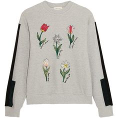 Steve J & Yoni P Embroidered cotton-terry sweatshirt ($290) ❤ liked on Polyvore featuring tops, hoodies, sweatshirts, sweaters, shirts, jumpers, light gray, panel shirts, floral sleeve shirt and flower sweatshirt