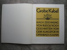 Rodolf Koch | Especímen de Grobe Kabel