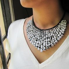 Unique jewelry - Paper bead Necklace - Black and White - Statement jewelry - Crossword Puzzle, Unique, statement - First anniversary gift. $68.00, via Etsy.