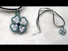 Beading4perfectionists : 4-leaf clover pendant made with 6mm round swarovski AB beading tutorial - YouTube