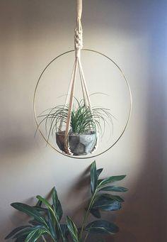 Hoop Macramé Plant Hanger Brass Ring Pot Holder White Natural Cotton Cord Hanging Macramé Plants Ferns Large Huge Big Jungalow