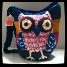 Owl Bucket Bag Crocheted/Felted by peacelovecreations on Etsy, $50.00