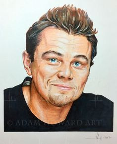 "Leonardo DiCaprio  20 years ago I spent a couple of months working for James Cameron on a face replacement shot in Titanic of Kate Winslet and Leonardo DiCaprio. That time I was working with pixels, this time it's with pencils. :)  Illustration © Adam Howard 2017 Medium is Color Pencil, Copic and Prismacolor markers and acrylic paint on acid free Strathmore Drawing paper. Dimensions are 7"" wide by 9"" high  #adamhowardart #leonardodicaprio #leo #leonardo  #titanic #katewinslet #jamescameron…"