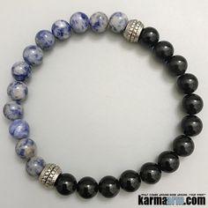 TRANQUILITY: Blue Brecciated Jasper • Obsidian Yoga Mala Bracelet Yoga Bracelet, Flower Bracelet, Charm Jewelry, Boho Jewelry, Bracelets For Men, Beaded Bracelets, Crystal Jewelry, Natural Gemstones, Jasper