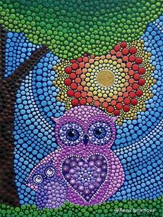 Puntillismo, dot art, point to point Bottle Top Art, Bottle Top Crafts, Mandala Art, Mandala Painting, Dot Art Painting, Stone Painting, Button Art, Owl Art, Aboriginal Art