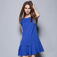Europe women OL dress summer Ladys temperament sleeveless loose falbala Ruffles dresses casual blue business clothing 9009