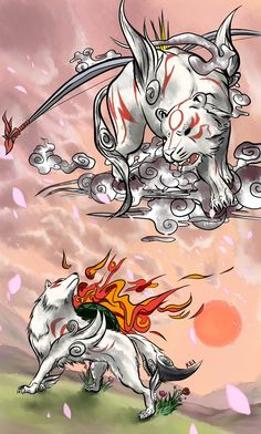 Amaterasu and Gekigami (AKA the best brush god)