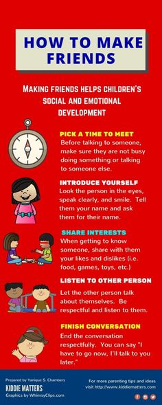 How To Make Friends Infographic Teach kids the important social skill of making friends. Parents, teachers, and counselors can role play this infographic with children to help them practice how to behave in social situations where they are meeting new pe Social Skills Activities, Teaching Social Skills, Counseling Activities, School Counseling, Teaching Kids, Coping Skills, Life Skills, Emotional Development, Personal Development