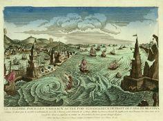 Le célèbre, et pour les vaisseaux autrefois si dangereux détroit de Faro di Messina (ca1793 Chereau etching with watercolor)