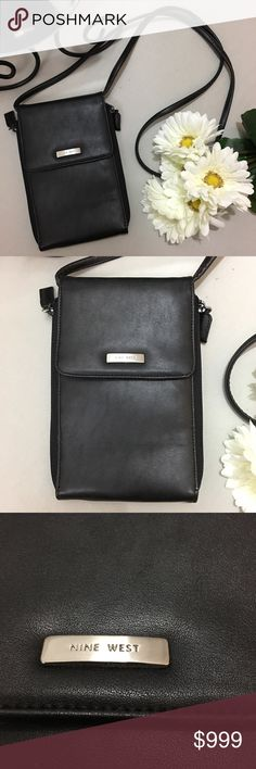 """Nine West NWOT Black Leather Travel Crossbody Bag *Condition: NWOT. Never used or carried with no retail tag.  *Fold over Snap closure and zips along the sides *Shoulder Strap *Pockets and card slots  *Great for travel *Height: 7.5""""  *Width: 4.5"""" *Drop: 23"""" *Stores in non-smoking pet free home Nine West Bags Crossbody Bags"""