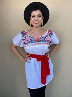 Gorgeous traditional Mexican shirt , hand-embroidered Fabric: Soft Muslin Fits size M-L Loose fit Measurements taken flat: Armpit to armpit Bottom hem width 22 Shoulder to Bottom hem 32 Does not includes the sash. Mexican Skirts, Mexican Blouse, Mexican Outfit, Traditional Mexican Shirts, Traditional Outfits, Festival Clothing, Festival Outfits, Outfits Mujer, Cool Outfits