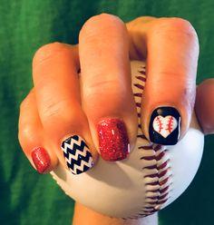 Time for baseball! Nails by Nikki Eilts of Tiptoe Nail Salon⚾️❤️⚾️ – Spor Baseball Toes, Baseball Nail Art, Softball Nails, Rockies Baseball, Baseball Girlfriend, Baseball Crafts, Softball Quotes, Softball Mom, Cardinals Baseball