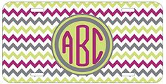 Personalized Monogrammed Chevron Lime Green Grey Car License Plate Auto Tag Top Craft Case http://www.amazon.com/dp/B00LOWPPM6/ref=cm_sw_r_pi_dp_nqptub07KE3CD