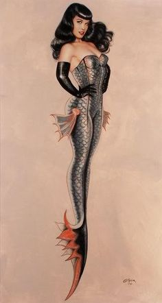 Bettie Page as a mermaid by Olivia deBeredinis