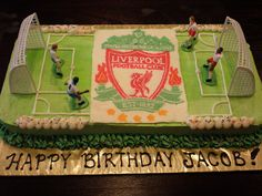 remember the manchester united fc cake i made a couple of months back? well this one is for the younger brother who wanted to contest that cake! payback + in-your-face attempt! Liverpool Football Club, Liverpool Fc, This Is Anfield, Themed Cakes, Cake Ideas, Cupcake Cakes, Projects To Try, Happy Birthday, Baking