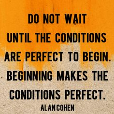 """""""Do not wait until the conditions are perfect to begin. Beginning makes the conditions perfect."""" - Alan Cohen"""