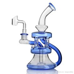 6.5 Inch Pipe Dual Water Percolator Decorate Glass Bottles at Home Glow in The Dark Hand-Made Glass Crafts Blue