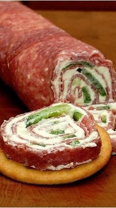 Salami and Cream Cheese Roll-Ups - I made these over the holidays I substituted pepperonchini peppers for the green peppers. Everyone LOVED them!!!