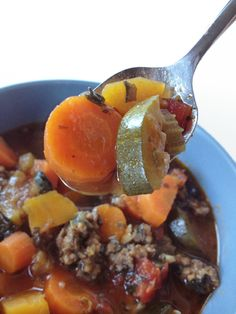 Paleo Minestrone soup, crock-pot style.  Easy to make vegetarian too