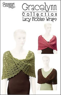 Mobius wraps, also called an infinity wrap, is an attractive crochet clothing accessory that you can wear in several styles. Gracelynn Collection Lacy Mobius Wraps offers beautiful mobius wraps made with elegant lace patterns. The circular tube shape is elegant when worn over your shoulders in the traditional mobius fashion.