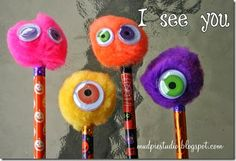 Halloween Monster Pencils from mudpiestudio.blog...