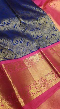 Blue pink Kanjivaram South Indian Sarees, Ethnic Sarees, Silk Saree Kanchipuram, Handloom Saree, Indian Dresses, Indian Outfits, Wedding Silk Saree, Simple Sarees, Indian Textiles