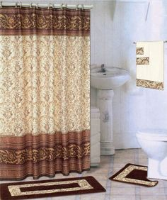 Bathroom Shower Curtains sets give your bathroom a new attention getting look. Decorative shower sets are unique gifts for weddings and housewarmings, too. Shower Curtains Walmart, Bathroom Shower Curtains, Fabric Shower Curtains, Curtain Fabric, Cotton Curtains, Curtain Accessories, Bathroom Accessories Sets, Complete Bathroom Sets, Hookless Shower Curtain