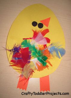 Easter Craft: Chicks with Feathers #ToddlerCraft #Homeschooling #EasterCraft #Preschool #Craft #Art #Ideas