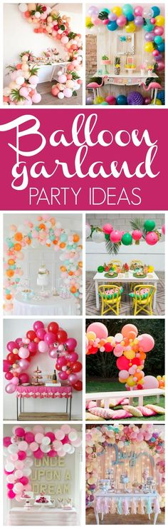 Balloons are the epitome of parties and we're loving the balloon garland trend right now. Check out these 16 Balloon Garland Party Ideas for your next party Diy Party Decorations, Balloon Decorations, Birthday Decorations, 16 Balloons, Balloon Garland, Balloon Backdrop, Balloon Party, Balloon Columns, Shower Party