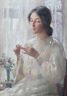 """""""En la ventana""""                                 - """"At the window""""   Retrato de Nellie, esposa del artista. William Kay Blacklock (1872-1922) Pintor británico de  Sunderland, Inglaterra"""