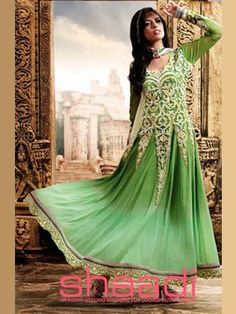This green long Anarkali Salwar suit is stylish elegance with graced with cut work, patch border work and Resham work and full sleeves embroidery work. Long Anarkali, Anarkali Dress, Anarkali Suits, Abaya Style, Churidar, Abaya Fashion, Indian Fashion, Indian Dresses, Indian Outfits