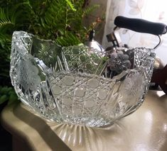 Excited to share this item from my shop: EAPG Fruit Bowl - McKees EAPG Innovation Glass Crystal Fruit Bowl Vintage Wedding Jewelry, Vintage Weddings, Scarab Bracelet, Clean And Shiny, Wedding Bag, Pretty Box, Pressed Glass, Locket Necklace, Bracelet Designs