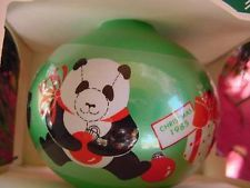 PANDA BEARS in Santa Hat  HALLMARK CHRISTMAS ORNAMENT GLASS MIB 1985 Babysitter