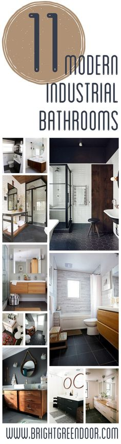 Modern Industrial Black Wood and White Bathrooms www.BrightGreenDoor.com