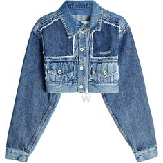 Off-White Cropped Denim Jacket ($965) ❤ liked on Polyvore featuring outerwear, jackets, blue, off white jacket, blue denim jacket, cropped jean jacket, cropped denim jacket and cropped jackets