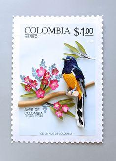鳥をモチーフにした立体的な切手デザインアート「Birds Stamps」