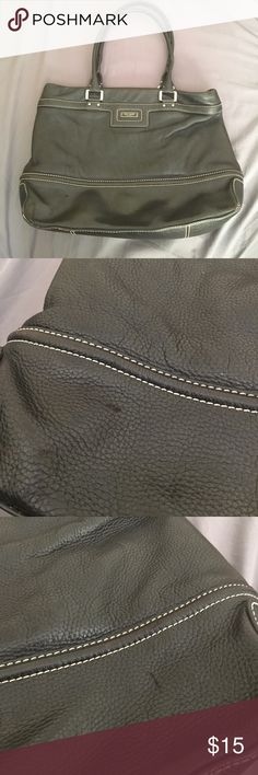 Kate Spade large black leather purse bag Large Kate spade purse. Some scratches on front. Bag leather is folded in some sections and will need to be reformed to a better shape. one handle is broken and will need a repair but it is not noticeable when carrying around. Still has a lot of life left and marked down to a great price! kate spade Bags