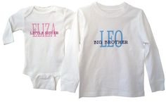 Personalized Sibling Shirts big and little by BabytalkDesigns, $29.00