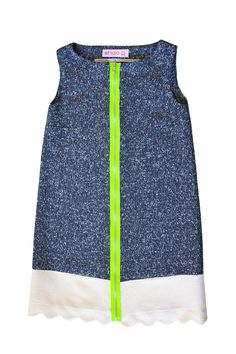 Navy Scalloped Dress, £199.00 Handmade in London from 100% natural fabrics #ethical #exclusive #womenswear