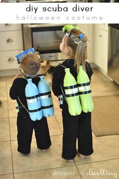 Easy DIY Scuba Diver Halloween Costume for kids!  I couldn't believe how simple this was to make for my children.  Even after Halloween, they still play with it all the time!  Delineateyourdwelling.com