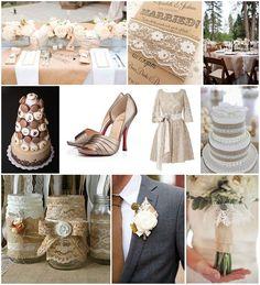 arpillera y de la boda del cordón de las ideas de la boda del estilo francés Blog
