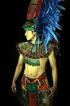 """""""We are all dust passing through the air, the difference is, some are flying high in the sky, while others are flying low. But eventually, we all settle on the same ground."""" ~ Anthony Liccione * Attire of the Nobles. Mexican Men, Mexican Style, Native Indian, Native American Indians, Aztec Costume, Aztec Warrior, Aztec Art, Mesoamerican, American Pride"""