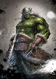 Shaman by 张良良 (world of warcraft) orc Orc Warrior, Fantasy Warrior, Fantasy Rpg, Fantasy Artwork, Fantasy World, Art Warcraft, World Of Warcraft Game, Larp, Fantasy Monster