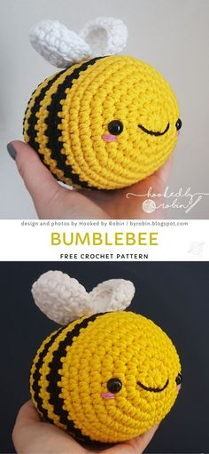 Crochet Projects A sweet bee for small children. This is an ideal gift idea. Add the bee to your pet family. Crochet Bee, Crochet Cat Pattern, Crochet Animal Patterns, Stuffed Animal Patterns, Crochet Patterns Amigurumi, Cute Crochet, Crochet Crafts, Crochet Dolls, Crochet Projects